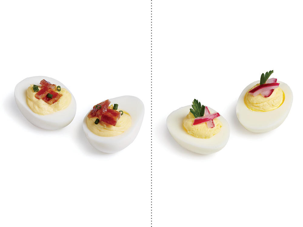 Instead of Bacon Deviled Eggs, Replace with our Lightened Deviled Eggs