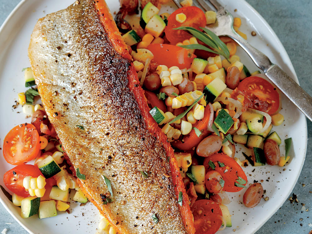 Pan-Seared Lake Trout with Bacon and Cranberry Bean Succotash