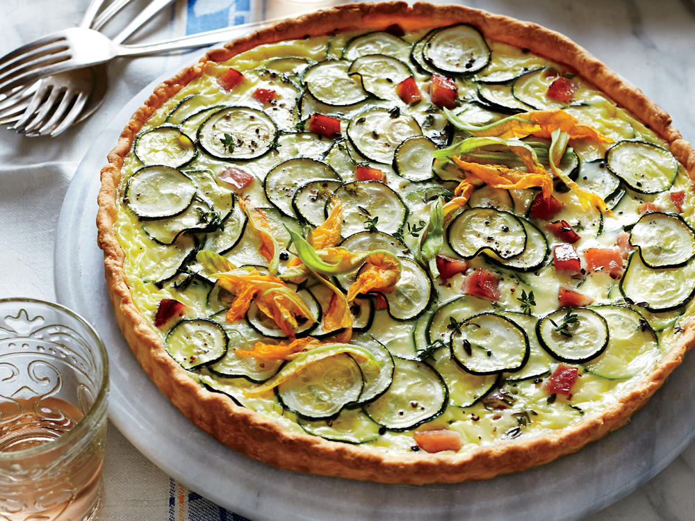 Zucchini and Goat Cheese Quiche