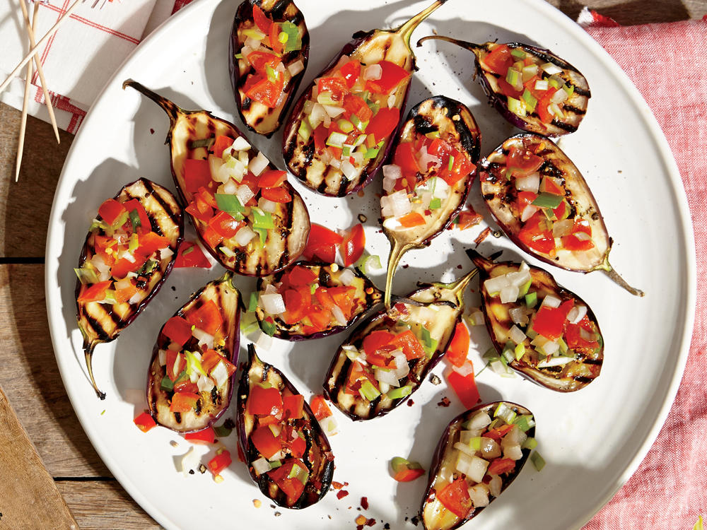 1507 Grilled Baby Eggplants with Green Onion Salsa
