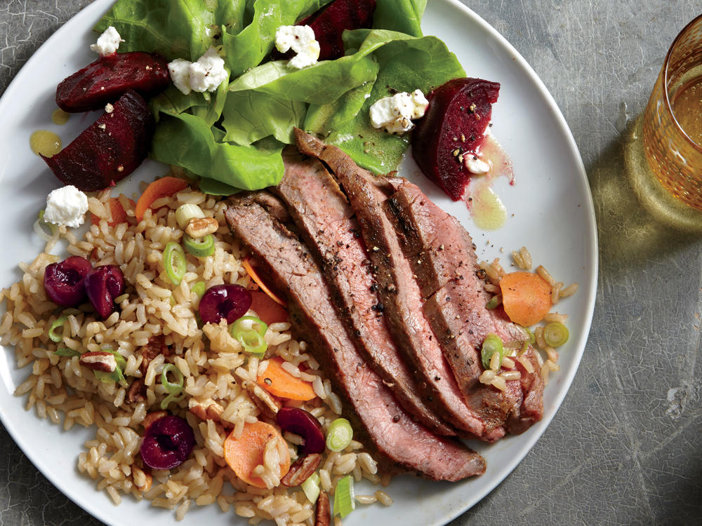 Grilled Flank Steak With Cherry-Pecan Rice