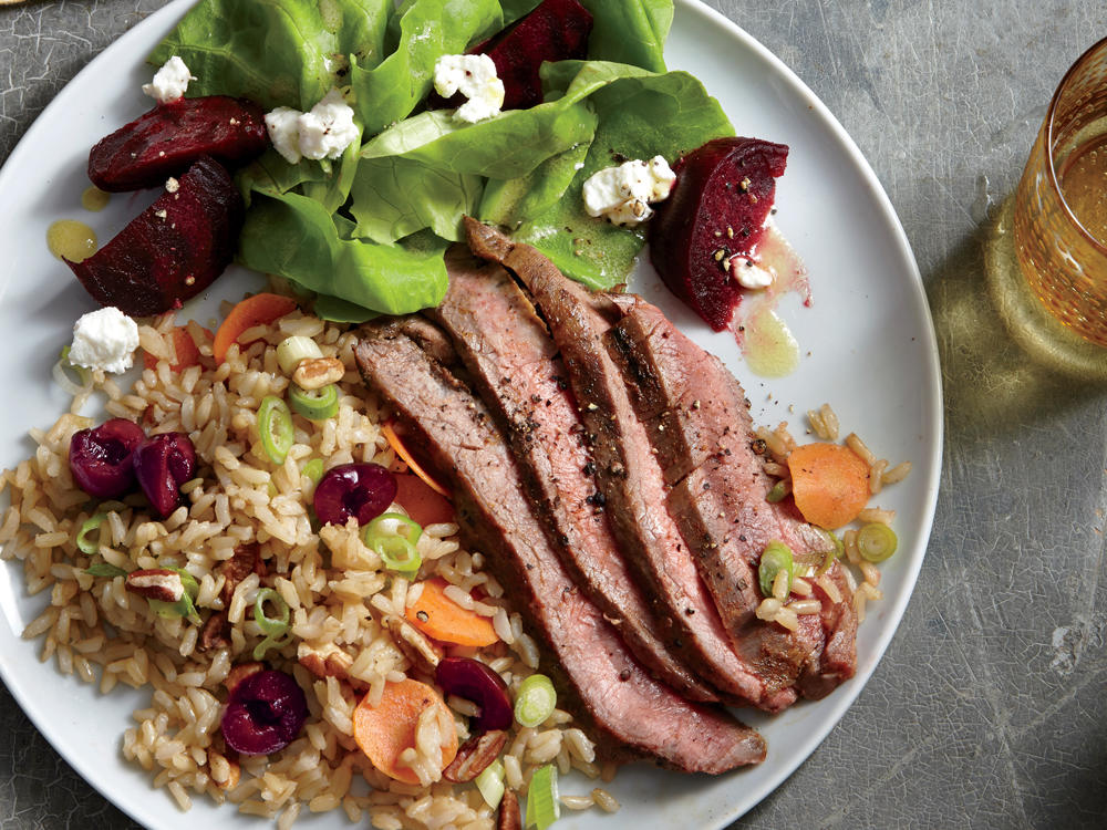 1510 Grilled Flank Steak with Cherry-Pecan Rice