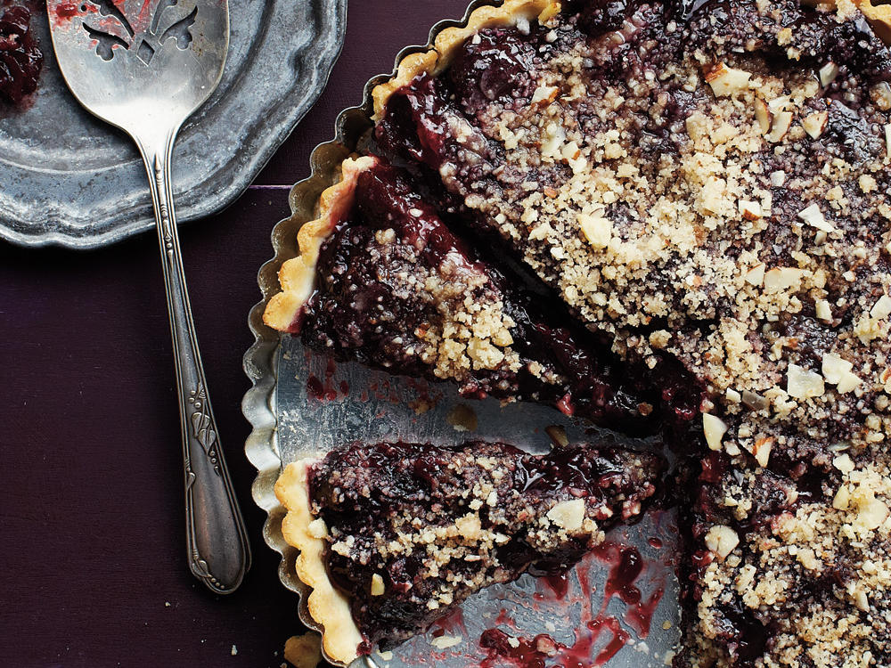 Cherry Tart with Almond Streusel Topping