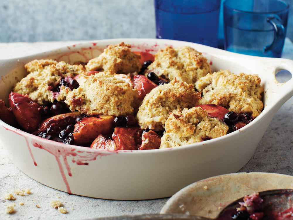 Blueberry-Peach Cobbler with Pecans