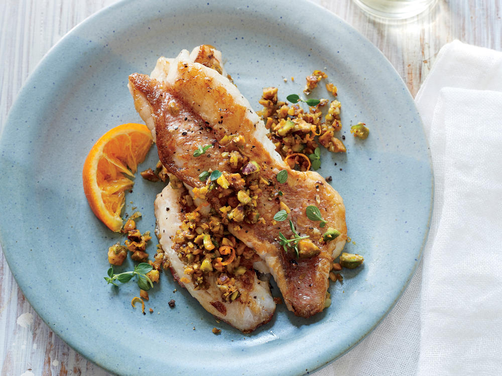 Sautéed Acadian Redfish with Pistachio and Orange Pesto
