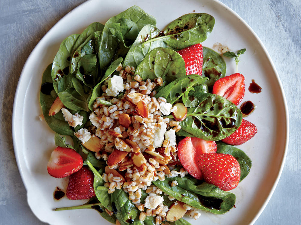 Wheat Berry, Spinach, and Strawberry Salad