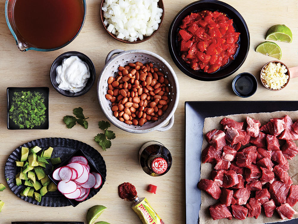 Beef and Pinto Bean Chili Mise En Place