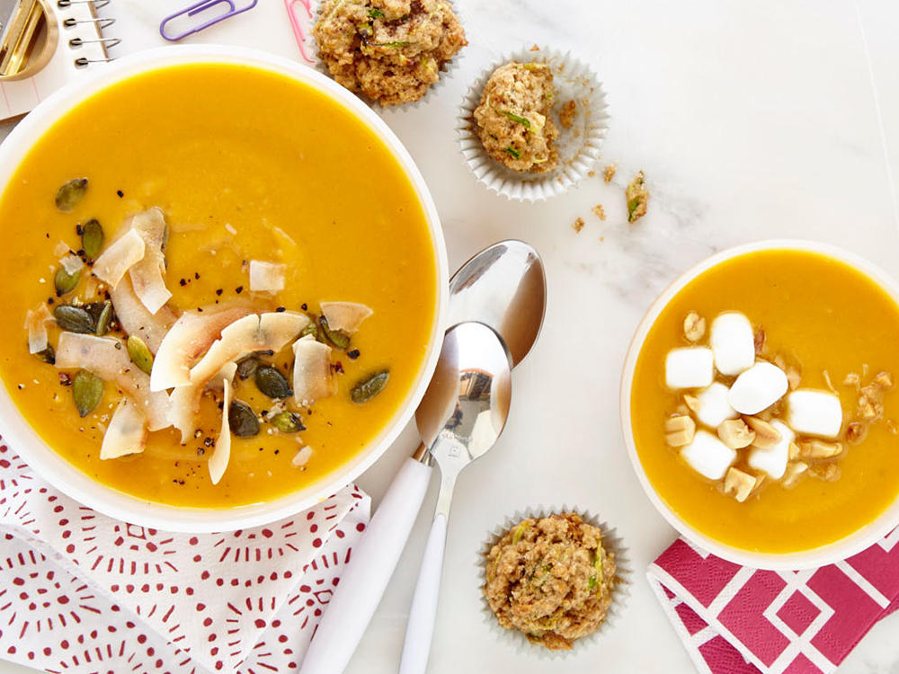 Gingered Sweet Potato Soup with Toasted Coconut and Pumpkinseeds