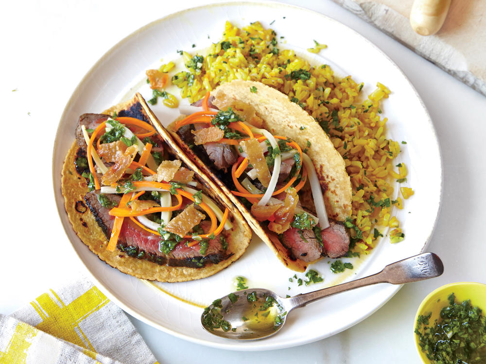 Chimichurri Steak Tacos with Pickled Vegetables