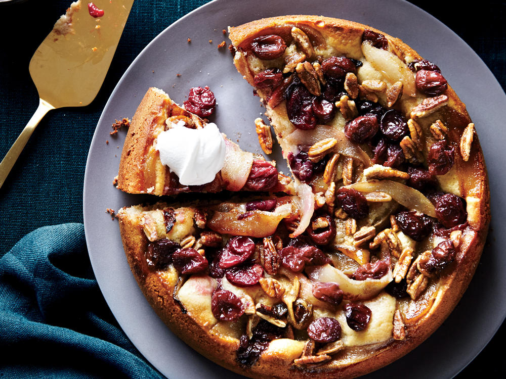 Roasted Grape and Pear Kuchen
