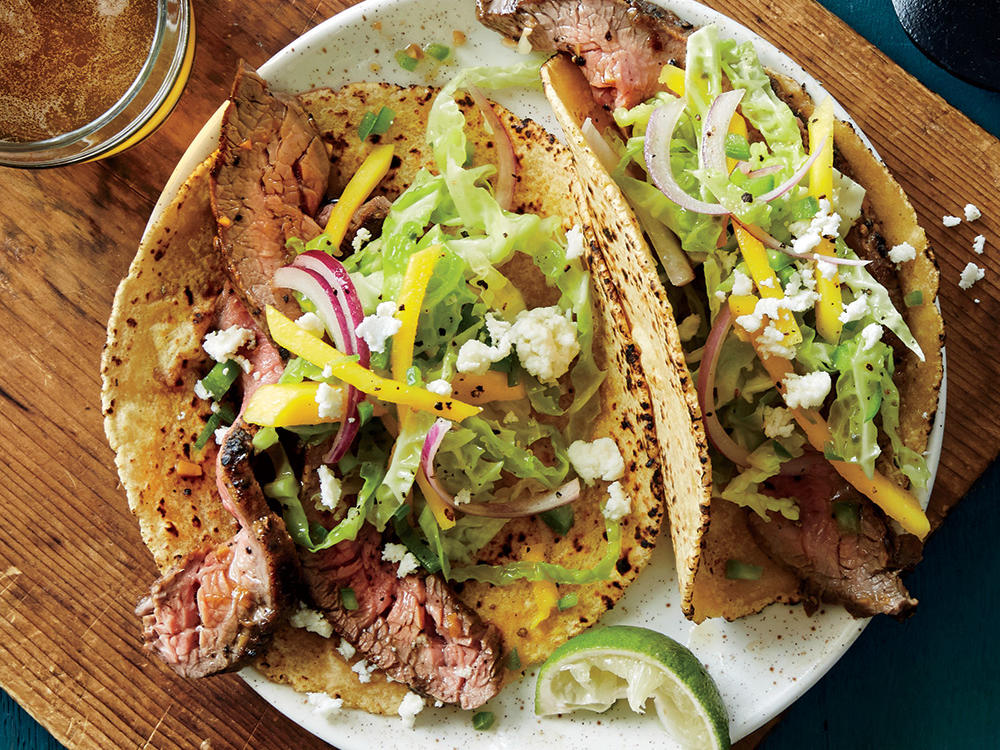 Lemon-Pepper Flank Steak Tacos