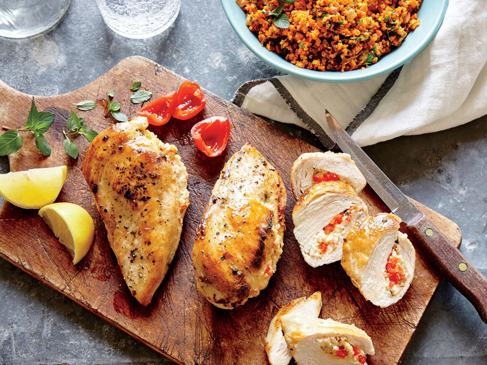 Basil, Feta, and Quinoa Stuffed Chicken Breasts
