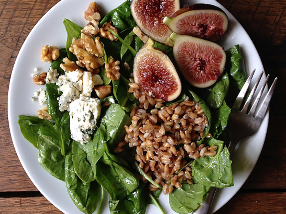 Fig, Farro, and Blue Cheese Breakfast Salad