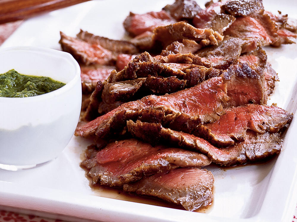 Cumin-Pepper Flank Steak with Horseradish Chimichurri