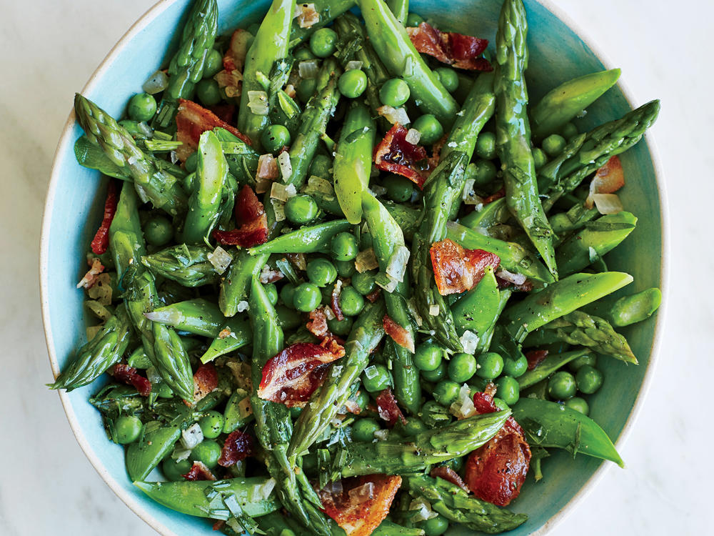 Tuesday: Rotisserie Chicken and Asparagus and Peas With Warm Tarragon Vinaigrette
