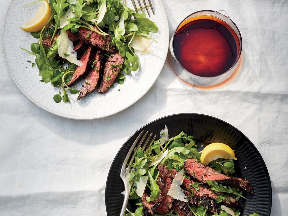 Balsamic Hanger Steak with Greens and Parmesan
