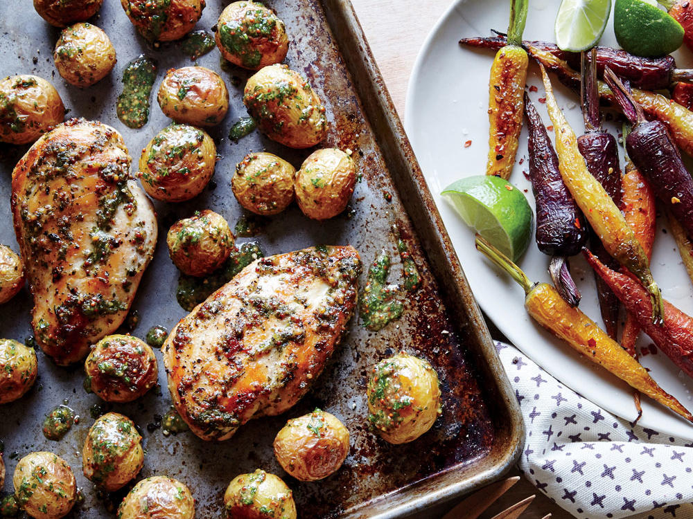 Sheet Pan Chicken with Roasted Baby Potatoes
