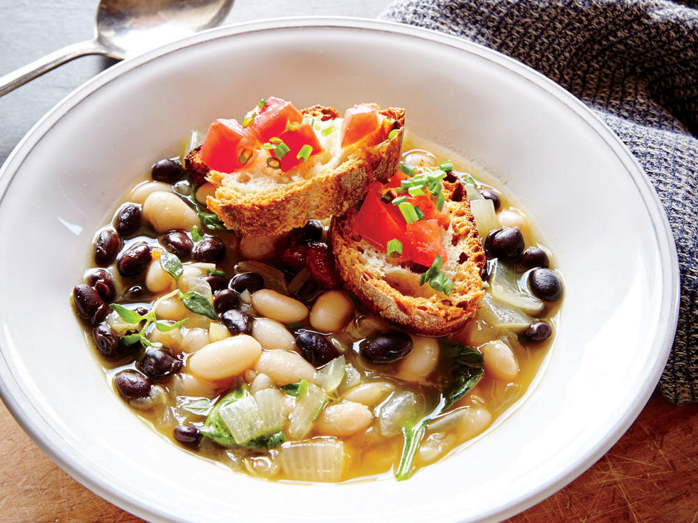 Third Meal: Two-Bean Soup with Tomato-Chive Crostini