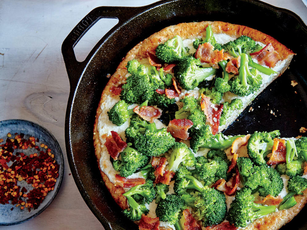 Broccoli-Bacon Skillet Pizza