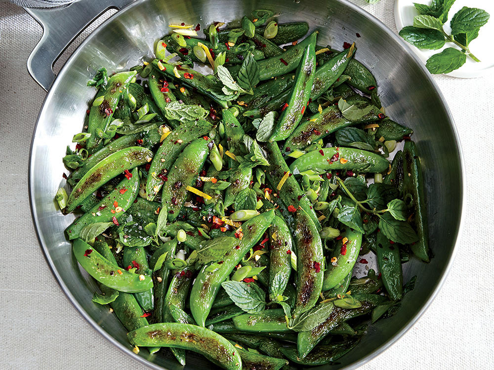 Sauteed Sugar Snap Peas with Chile, Lemon, and Mint