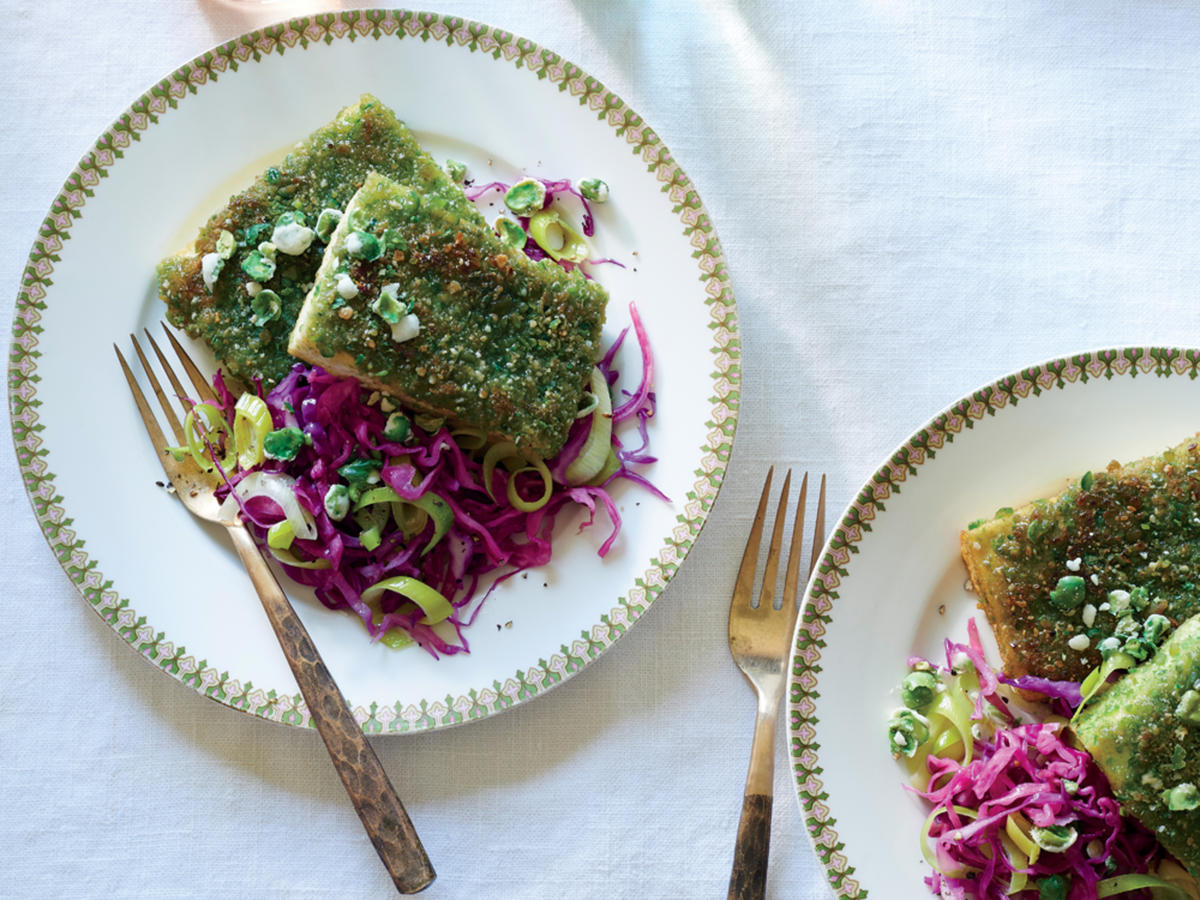 Wasabi Pea Tofu with Red Cabbage and Leeks