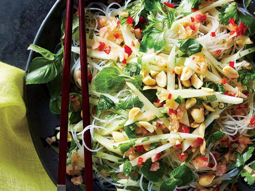 Glass Noodles with Green Papaya, Peanuts, and Chili Vinaigrette