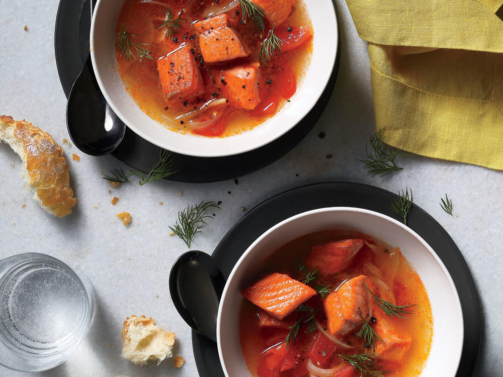 Salmon Soup With Tomato, Dill, and Garlic
