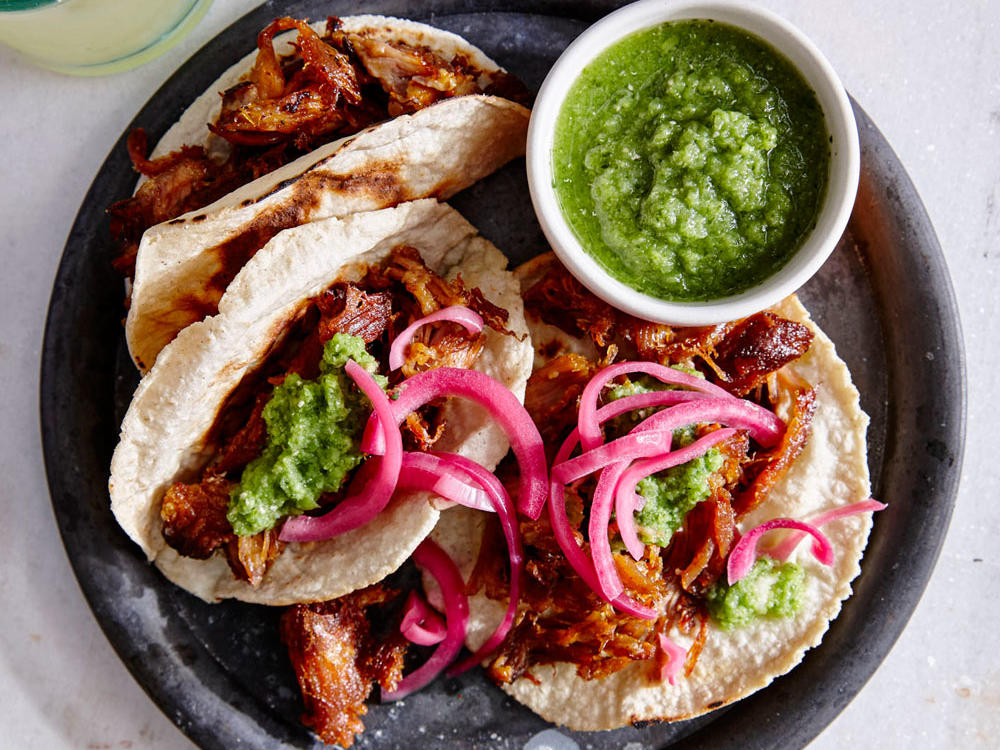 Carnitas Tacos with Pickled Red Onion