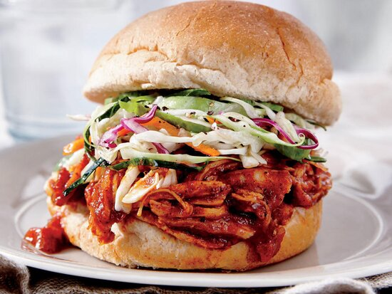BBQ Chicken Sandwiches with Coleslaw