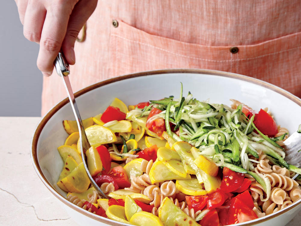 Basil, Squash, and Tomato Pasta Toss