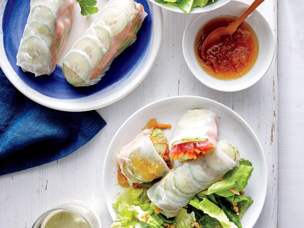 Tuna Spring Rolls with Pineapple Dipping Sauce