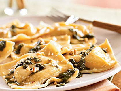 Chickpea Ravioli with Basil Pesto and Hazelnuts
