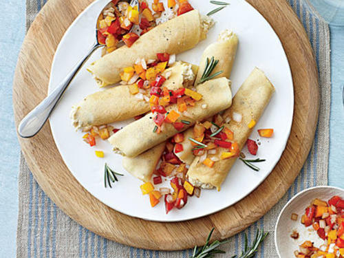 Chickpea-Rosemary Crepes with Pepper Relish