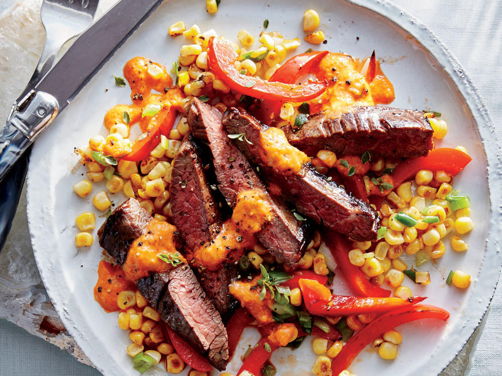 Skirt Steak with Corn and Red Pepper Puree
