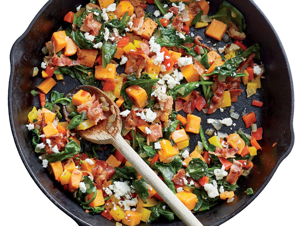 Bacon-Powered Sweet Potato Veggie Skillet