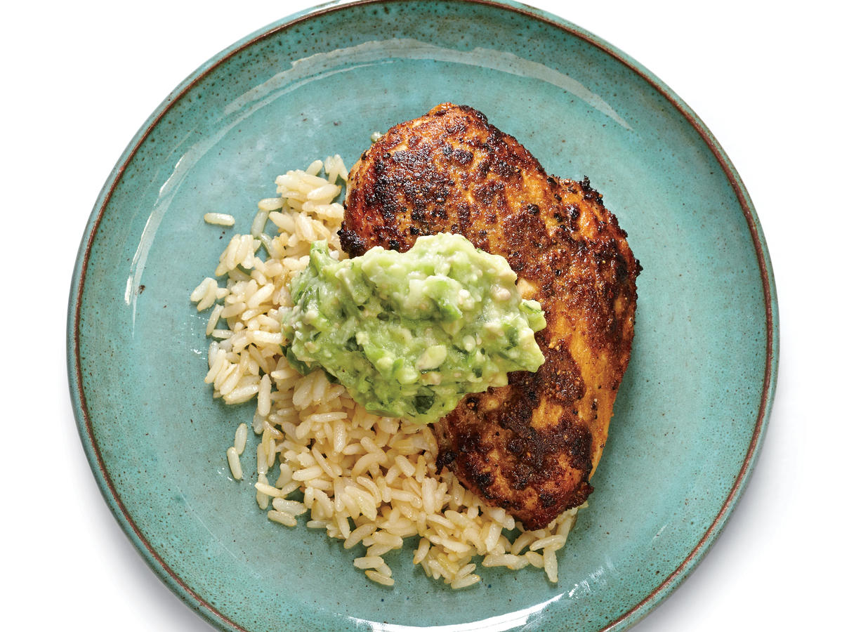 cumin rubbed chicken with guacamole sauce recipe