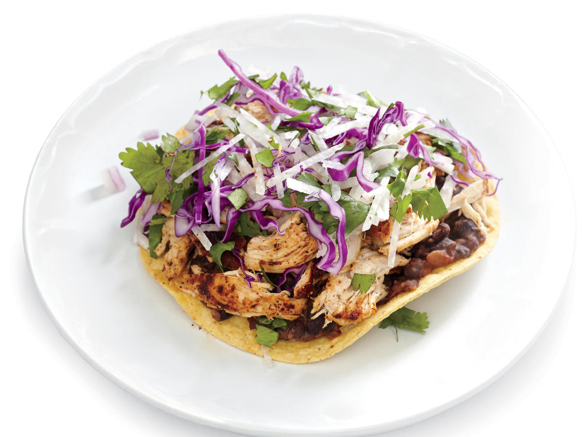 spicy chicken and black bean tostadas with jicama slaw recipe