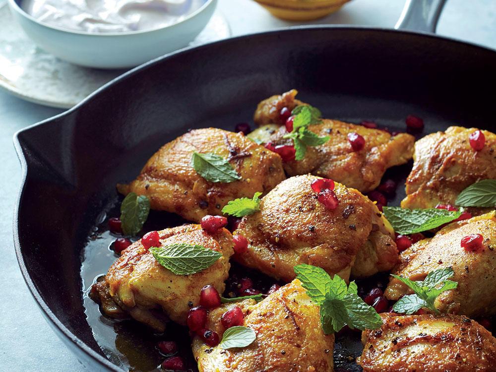 Curried Chicken Thighs With Pomegranate-Mint Sauce