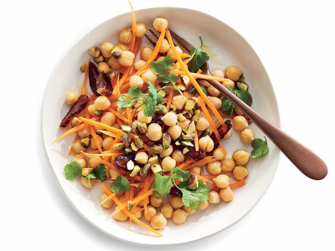 Chickpeas with Spiced Carrots, Dates and Pistachios
