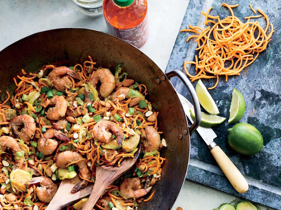 Sweet Potato Noodles with Shrimp and Thai-Style Almond Sauce