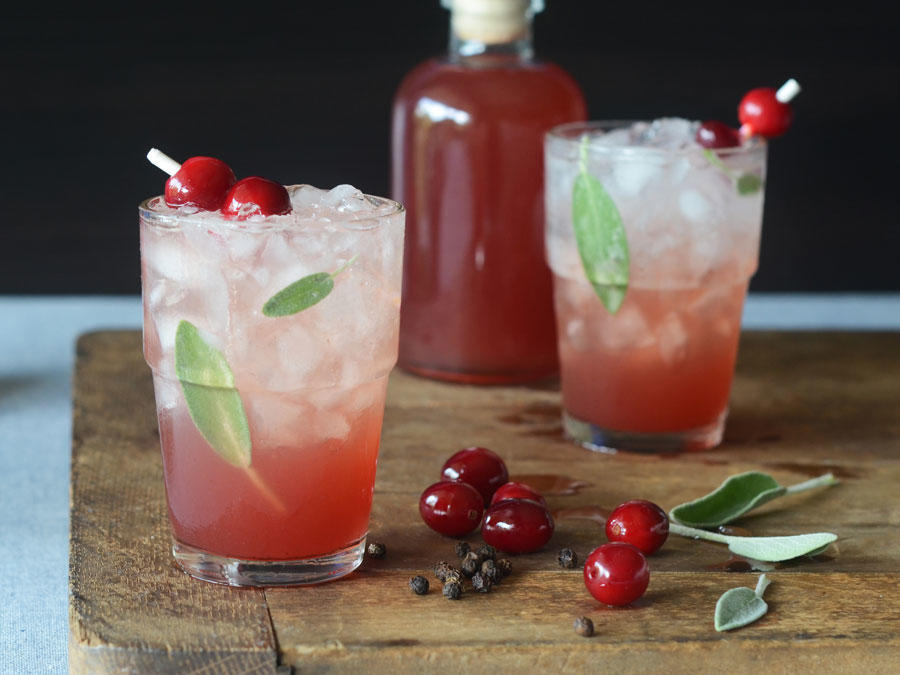 Cranberry Peppercorn & Sage Shrub Soda