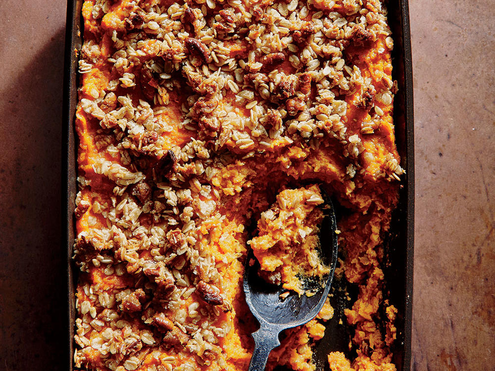 Sweet Potato Casserole With Crunchy Oat Topping