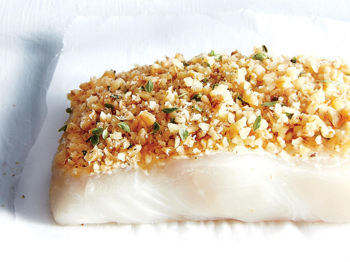 Walnut-and Dijon-Crusted Halibut