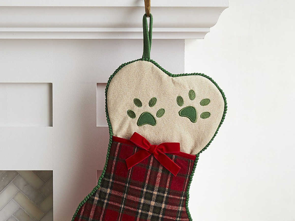 Pier1 Plaid Bone Dog Stocking