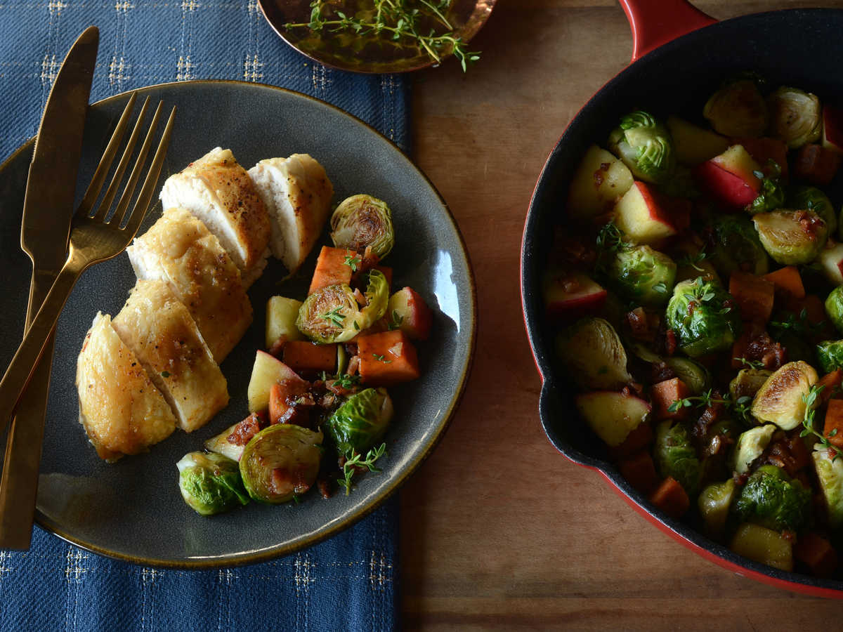 Brussels Sprouts, Sweet Potato, and Apple Harvest Hash