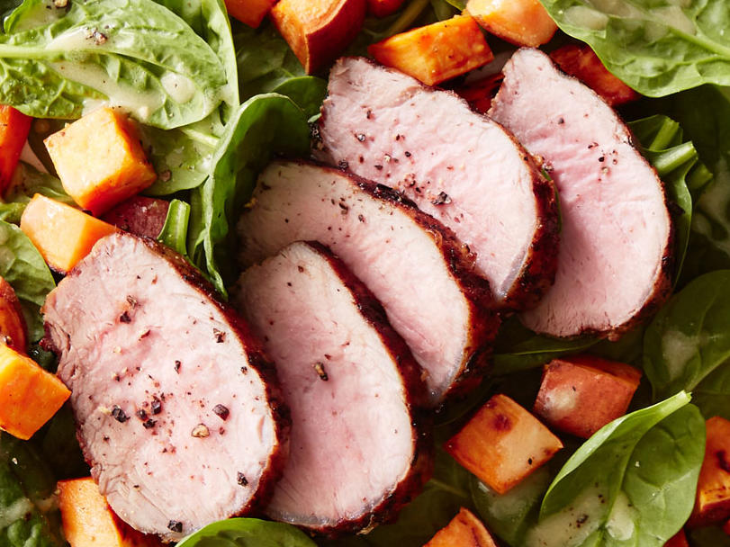 Monday: Herbed Pork Tenderloin With Sweet Potato Spinach Salad