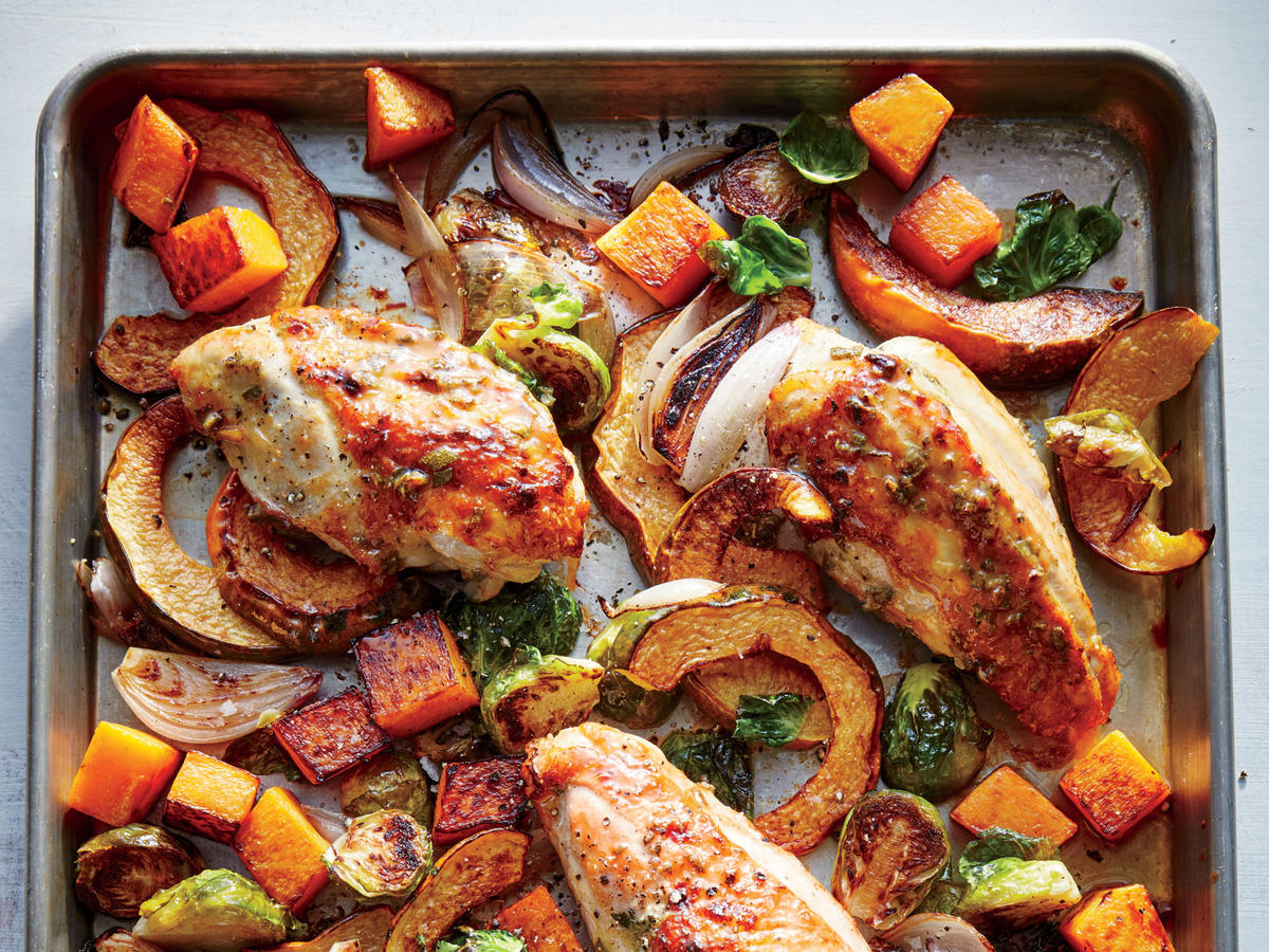 Maple Mustard Roasted Chicken With Squash And Brussels Sprouts