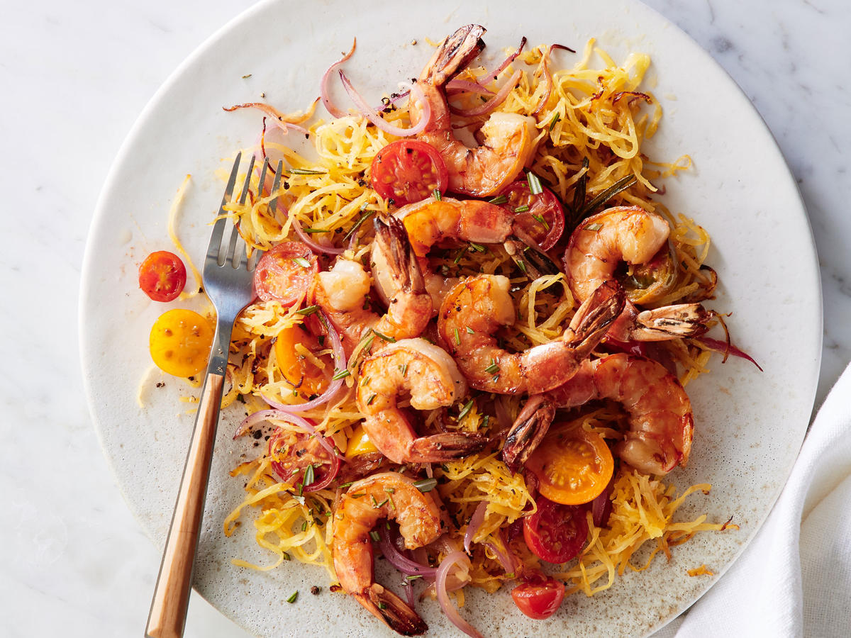 Dinner: Pan-Seared Shrimp with Rosemary Spaghetti Squash