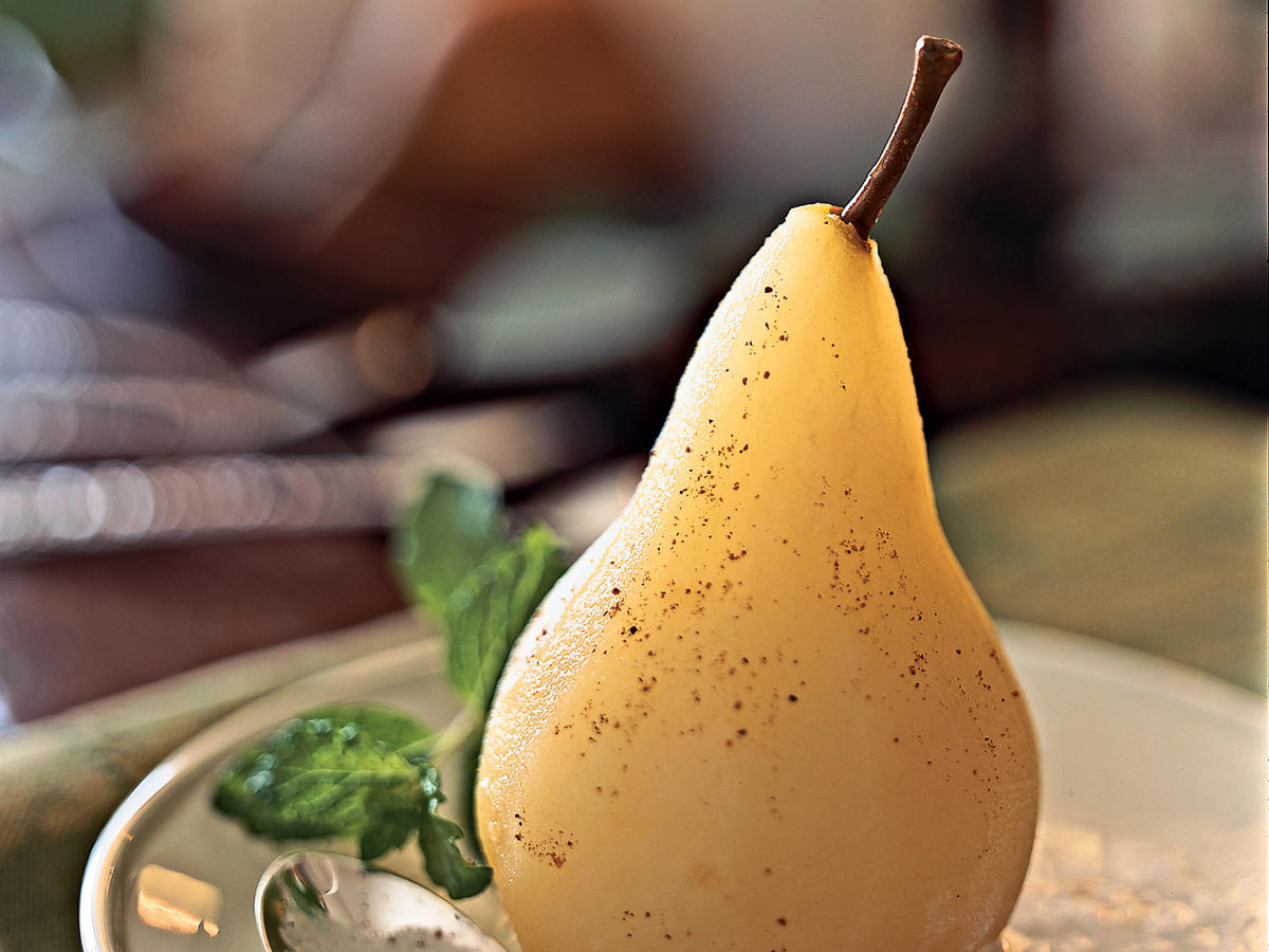 Poached Pears with Cardamom Cream