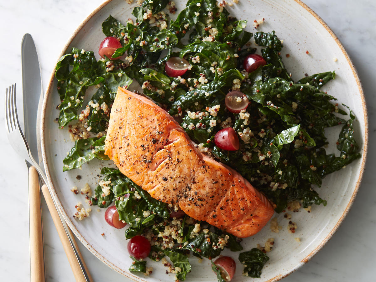 Roasted Salmon With Kale Quinoa Salad Recipe Cooking Light